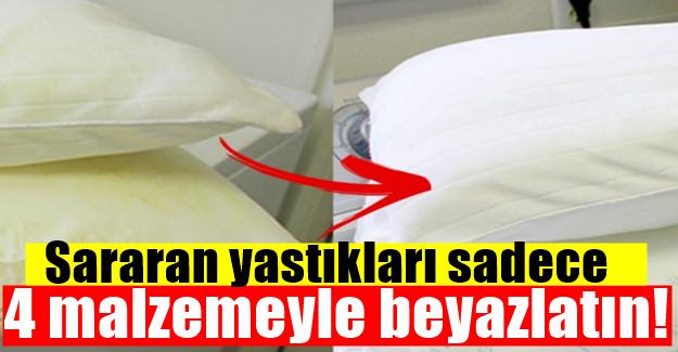 Sararan yastıkları sadece 4 malzemeyle beyazlatın!