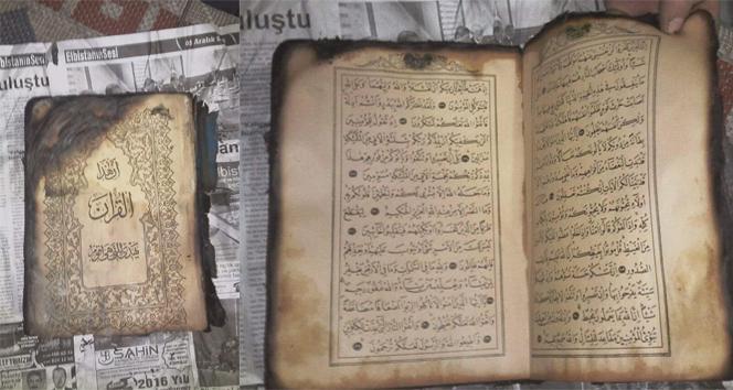 8 dükkan yandı, Kur'an-ı Kerim yanmadı!
