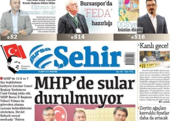 Bursa Şehir gazetesinden Erdoğan'lı logo