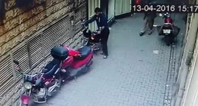 Motosiklet hırsızının rahatlığı şaşırttı