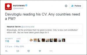 Euronews'in Davutoğlu hakkında attığı tweet olay oldu