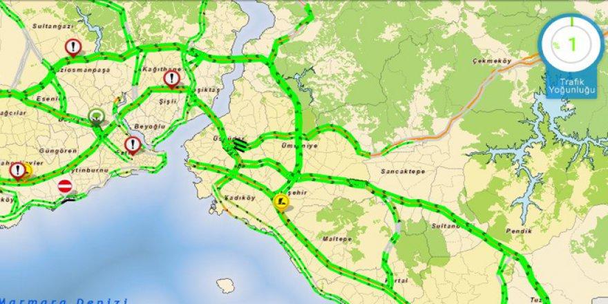 İstanbul'da trafik yoğunluğu yüzde 1'e düştü!