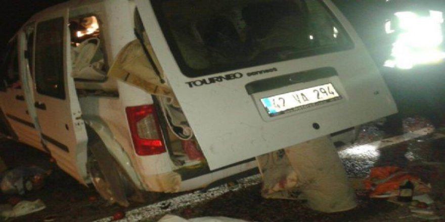 Beyşehir'de Domuz sürüsüne çarpan araç takla attı