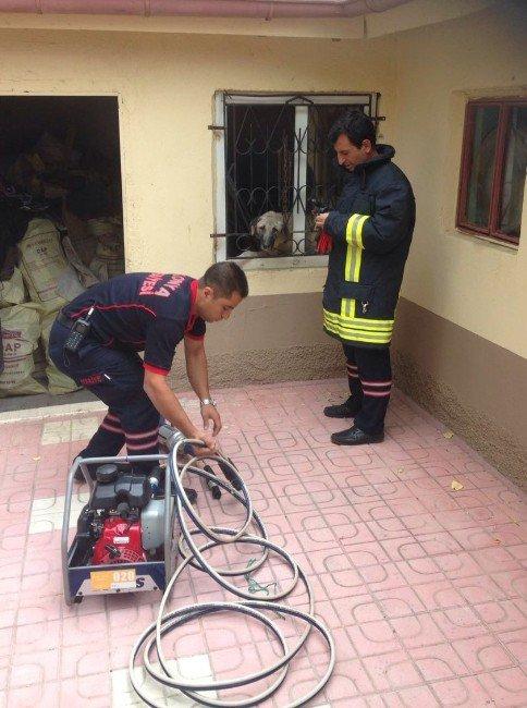 Konya Kulu'da Kafası Pencere Demirine Sıkışan Köpek Kurtarıldı