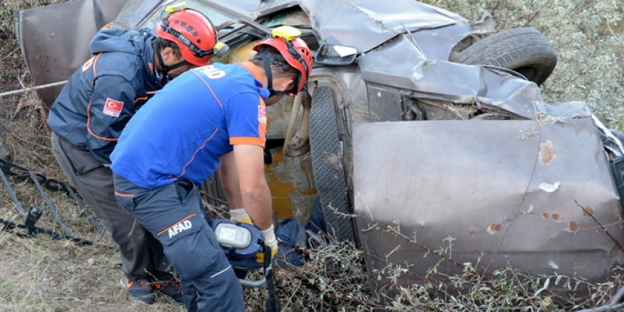 Aksaray'da otomobil takla attı: 1 ölü, 1 yaralı