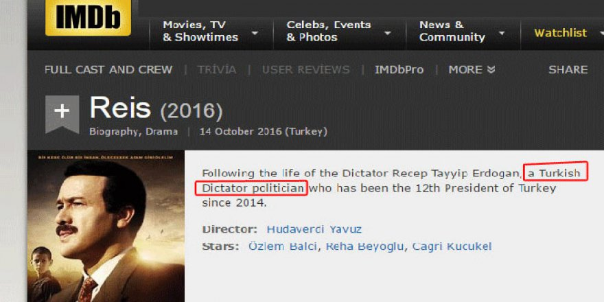 IMDB'den Erdoğan için küstah paylaşım