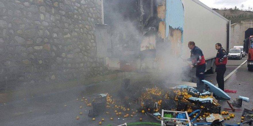 Antalya'da Narenciye Yüklü Tır Alev Aldı