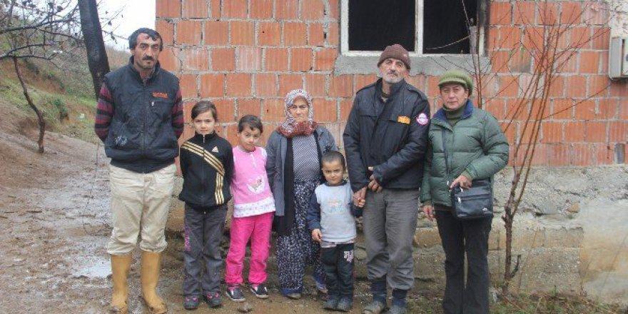 Evi Yanan Aileye Bafra Umut Derneği'nden Yardım