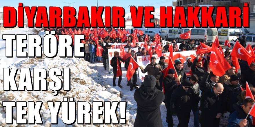 Diyarbakır ve Hakkari'de binlerce insan 'terörle lanet' okudu