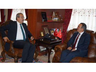 Neü Rektörü Bağlı, Belediye Başkanı Ünver'i Ziyaret Etti
