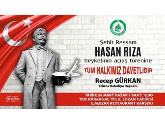 Edirne'de Şehit Ressam Hasan Rıza'nın Heykeli Açılacak