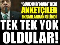 """Erdoğan """"güvenmiyorum"""" dedi anketçiler ekranlardan silindi"""