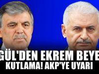 Abdullah Gül'den Ekrem İmamoğlu'na tebrik mesajı