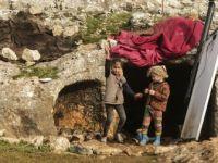 Mağaraya Sığınan İdlibli Aile Yabani Hayvanlara Karşı Nöbet Tutuyor