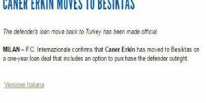 İtalyan ekip Inter, Caner Erkin'i Beşiktaş'a kiraladı!