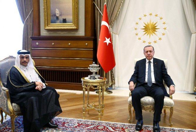 Cumhurbaşkanı Erdoğan Katar Dışişleri Bakanını Kabul Etti